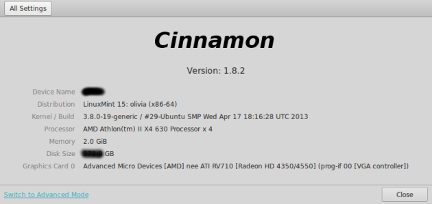 Linux Mint 15 System Info